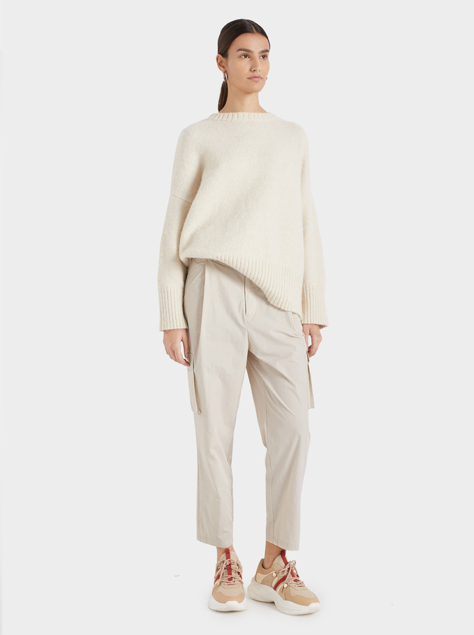 Knit Sweater With Ribbed Cuffs, Beige, hi-res
