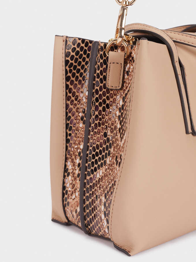 Shopper Bag With Embossed Snakeskin Detailing, Beige, hi-res