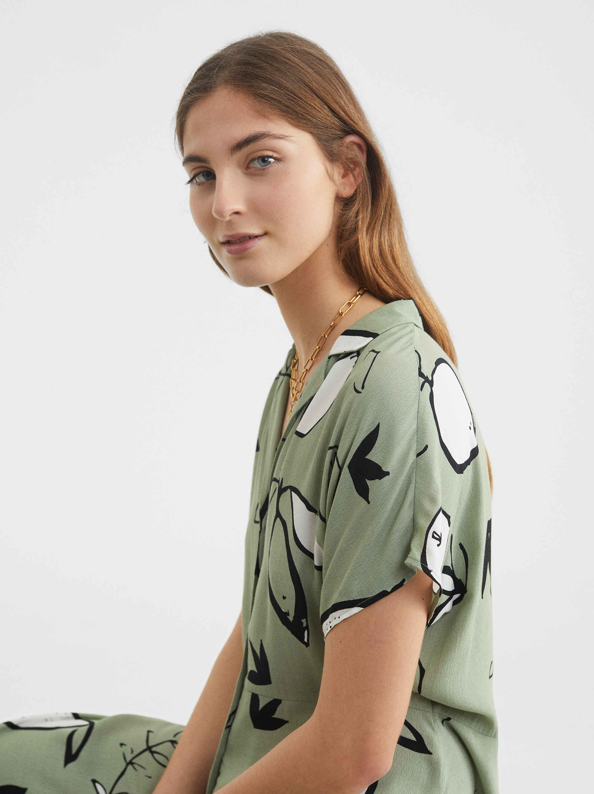 Pear Print Shirt Dress, , hi-res