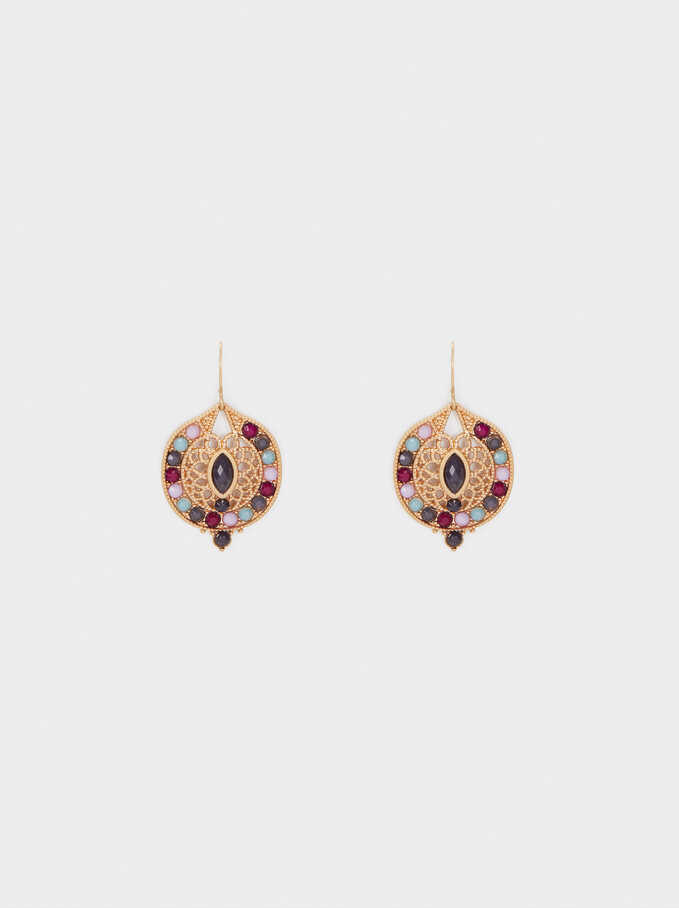 Hoop Earrings With  Brilliant Details, Multicolor, hi-res