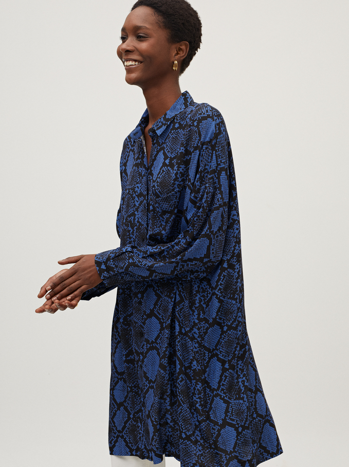 Snake Print Shirt Dress, Blue, hi-res