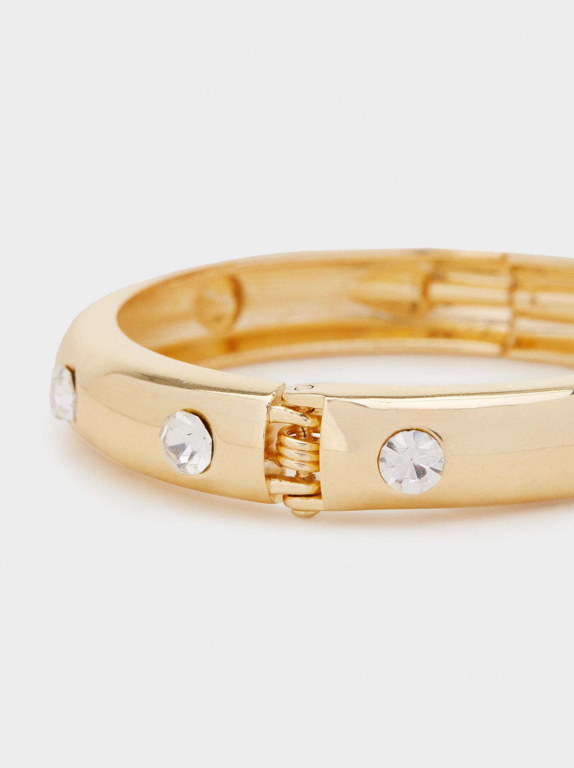 Basic Bracelet With Rhinestones, Golden, hi-res