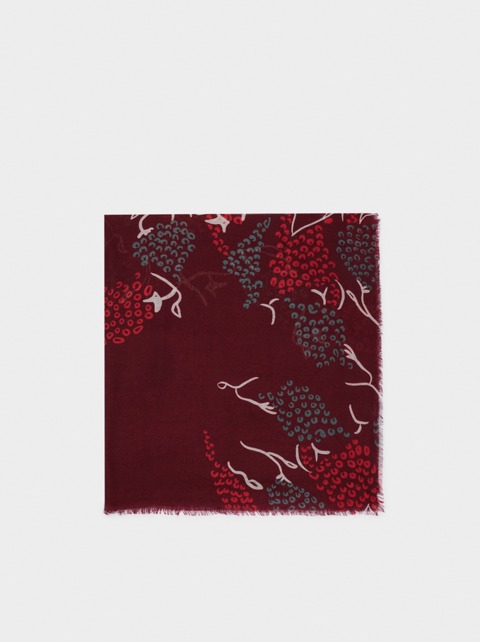 Foulard Imprimé Multicolore, Bordeaux, hi-res