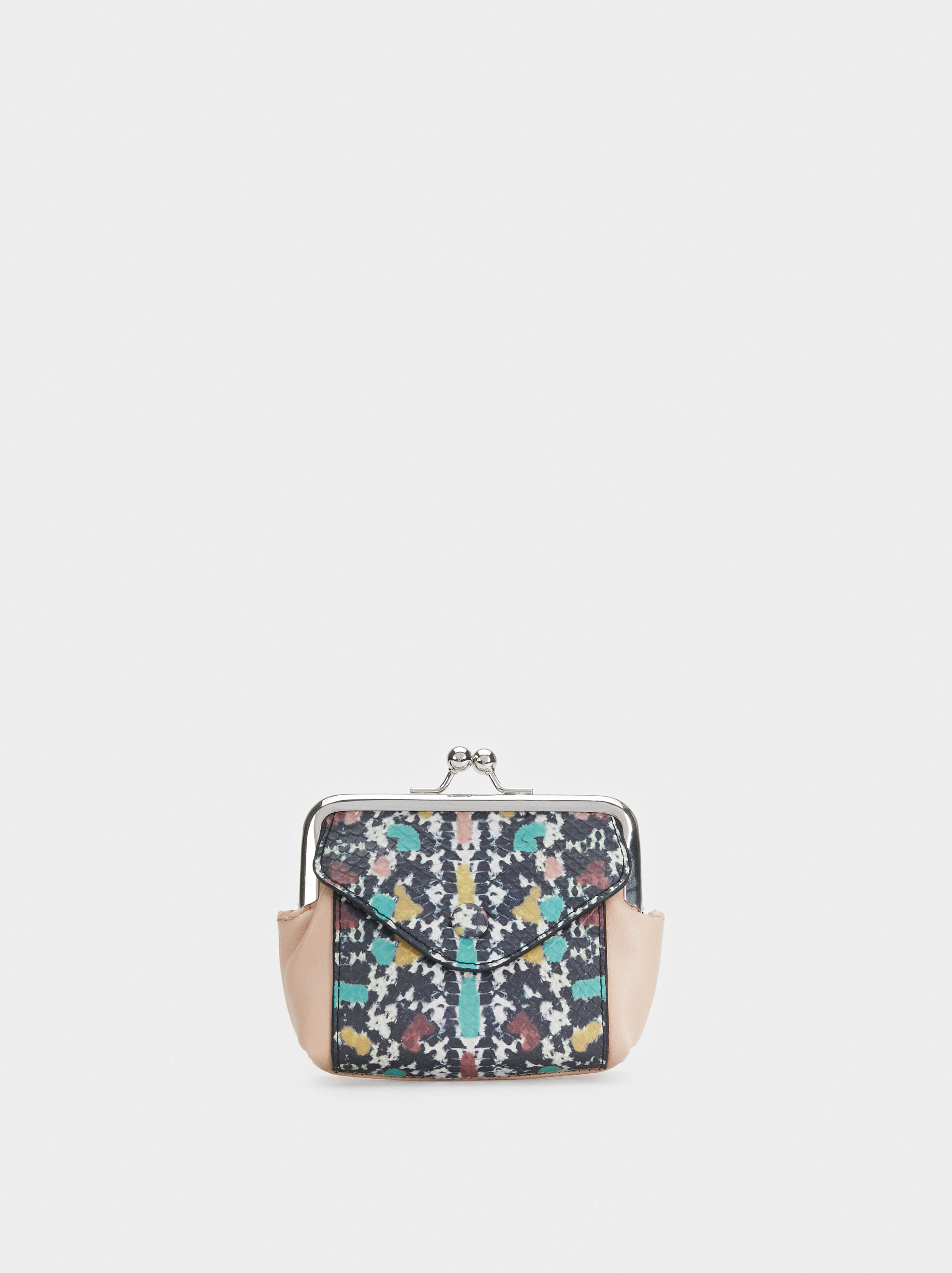 Geometric Print Purse, Black, hi-res