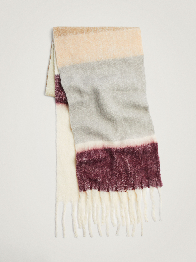 Printed Maxi Scarf With Fringing, Bordeaux, hi-res