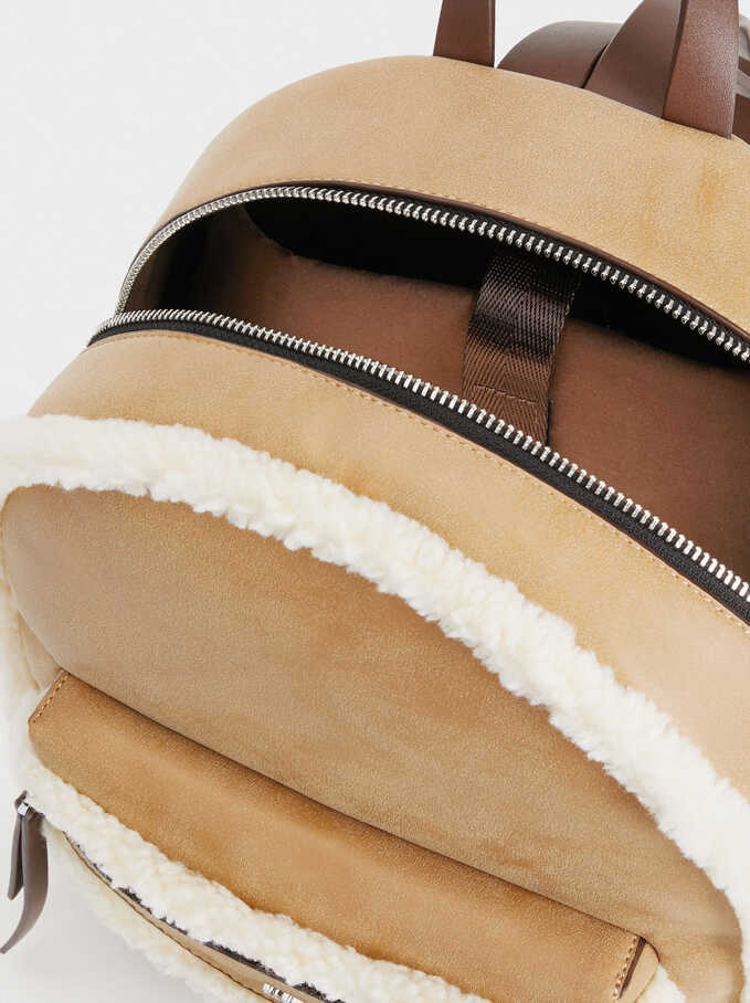 Backpack With Faux Shearling Detail, Camel, hi-res