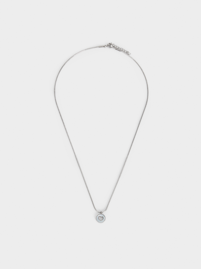 Short Steel Heart Necklace, Silver, hi-res