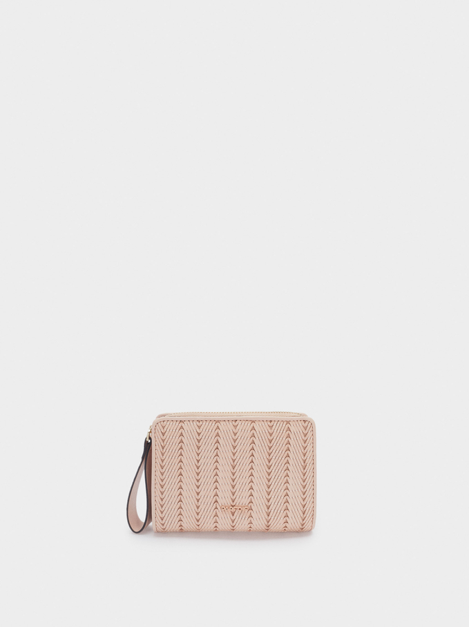 Compact Purse With Embroidery, Pink, hi-res