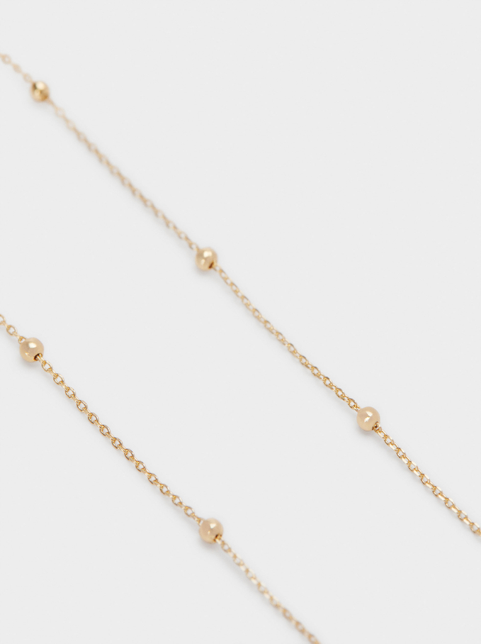 Short Heart Necklace With Cubic Zirconia, Golden, hi-res