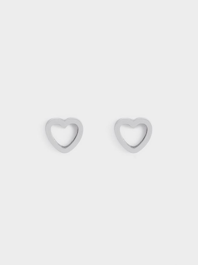 Short Steel Heart Earrings, Silver, hi-res