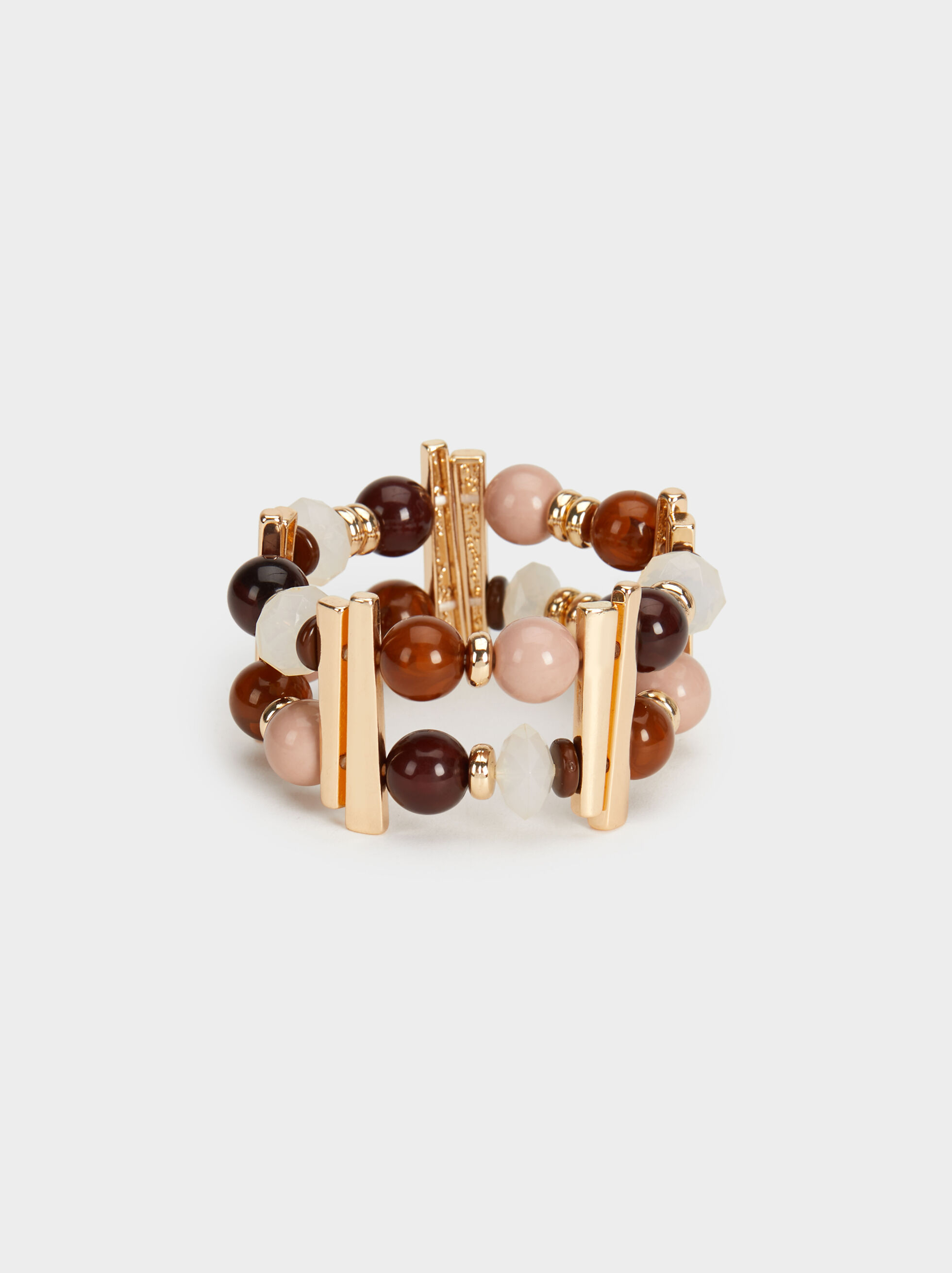 Elasticated Land Bracelet With Beading, Multicolor, hi-res