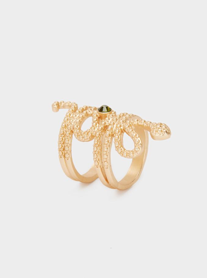 Gold Double Snake Ring, Golden, hi-res