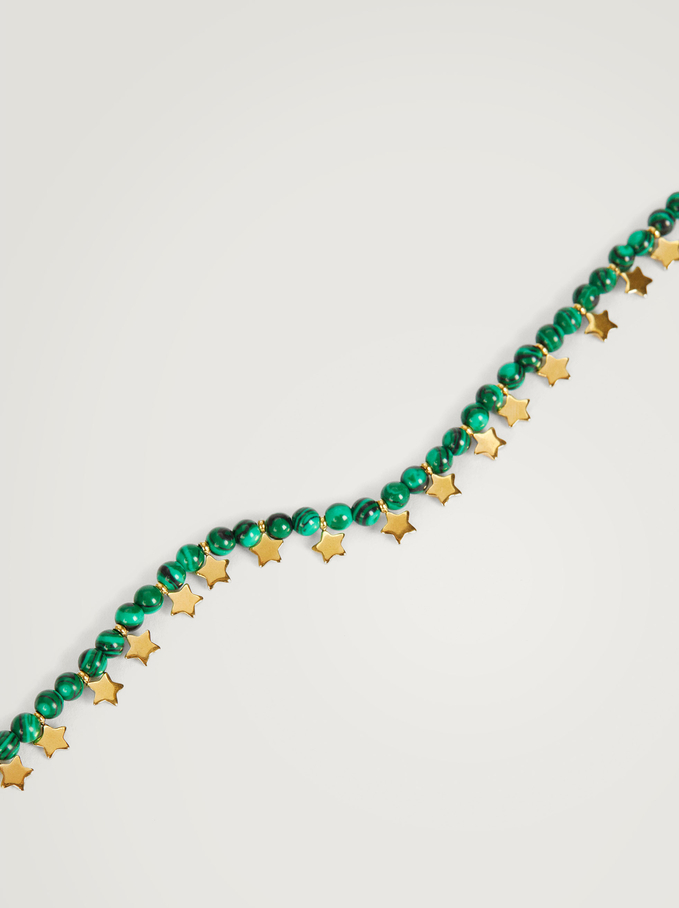 Short Stainless Steel Necklace With Stones And Stars, Green, hi-res