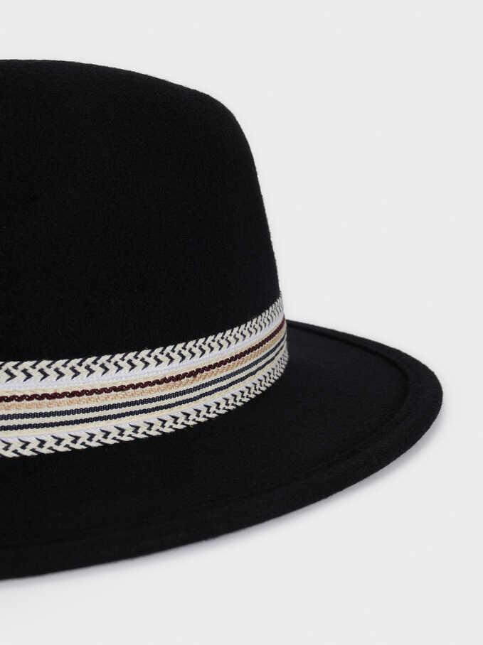 Sombrero De Lana Con Cinta A Contraste, Negro, hi-res
