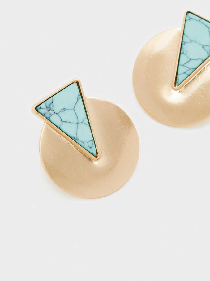 Short Earrings With Multicoloured Gemstone, Blue, hi-res