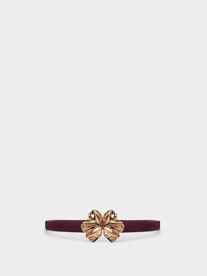 Belt With Metal Appliqué, Bordeaux, hi-res