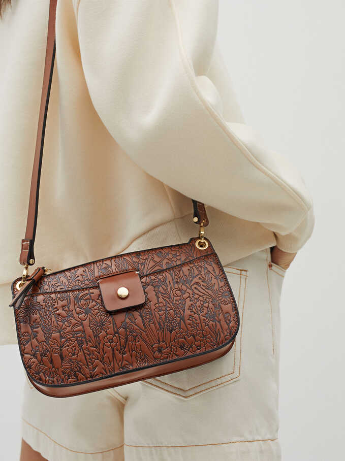 Embossed Crossbody Bag With Outer Pocket, Camel, hi-res