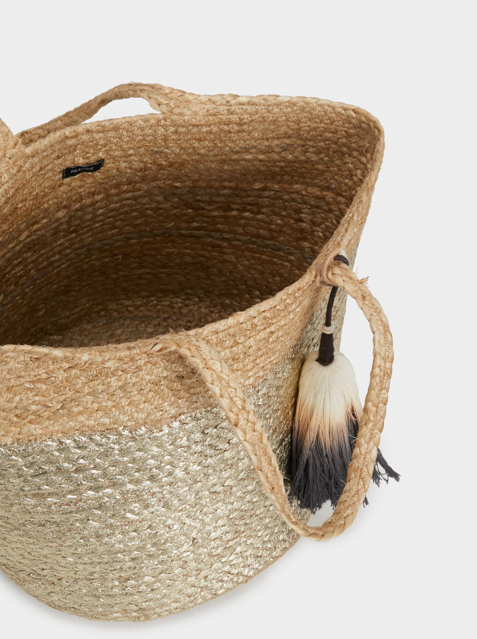 Large Faux Raffia Tote Bag, Ecru, hi-res