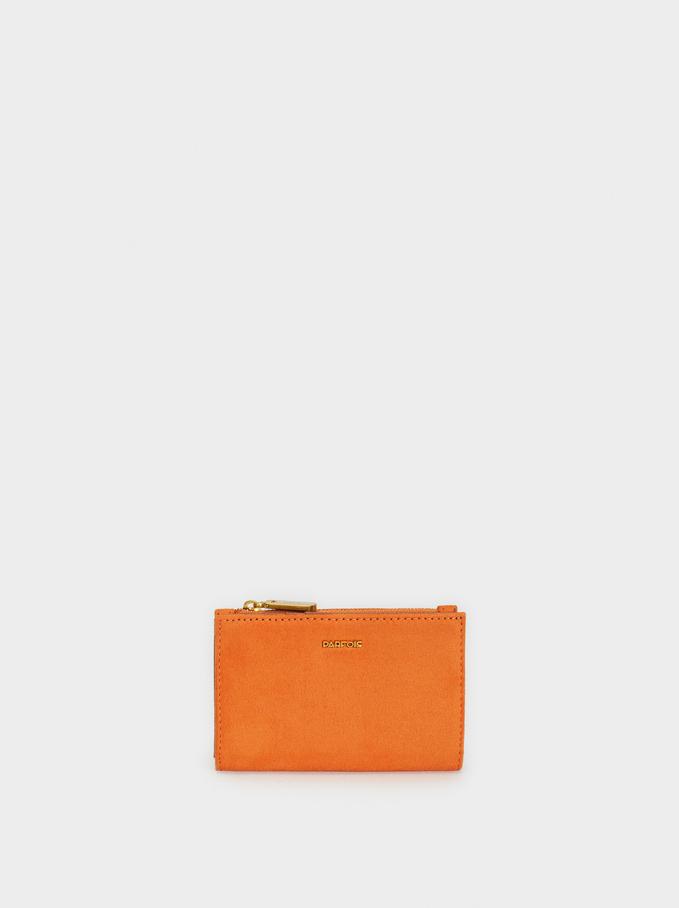 Small Suede Texture Purse, Orange, hi-res