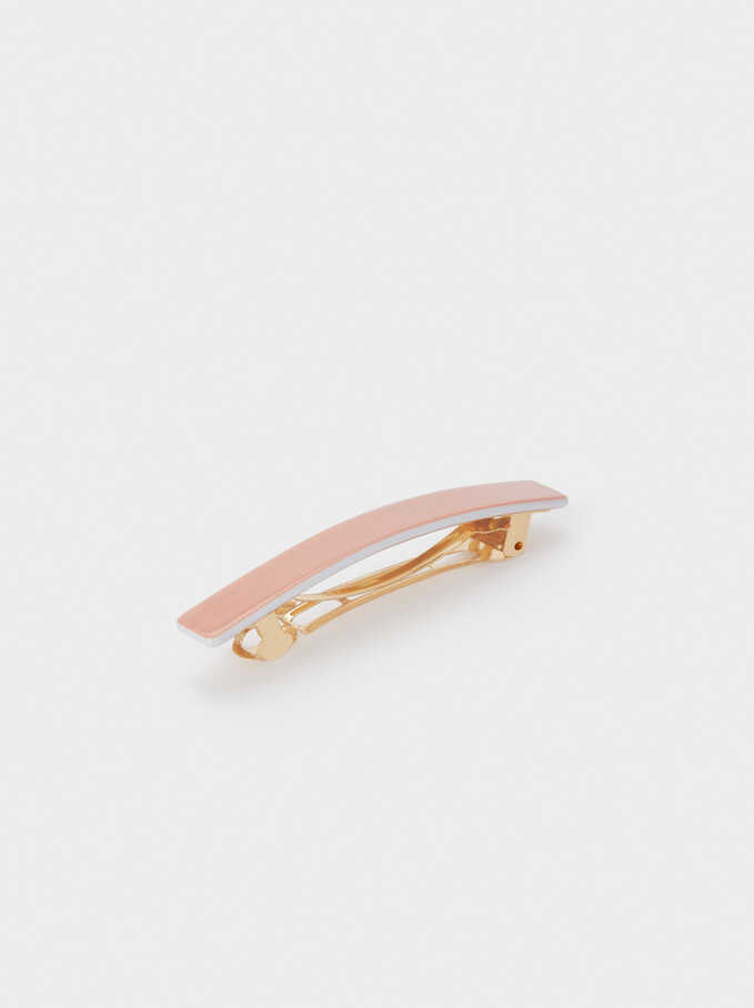 Plain Hair Clip, Coral, hi-res
