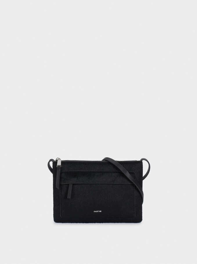 Faux Fur Crossbody Bag With Outer Pocket, Black, hi-res