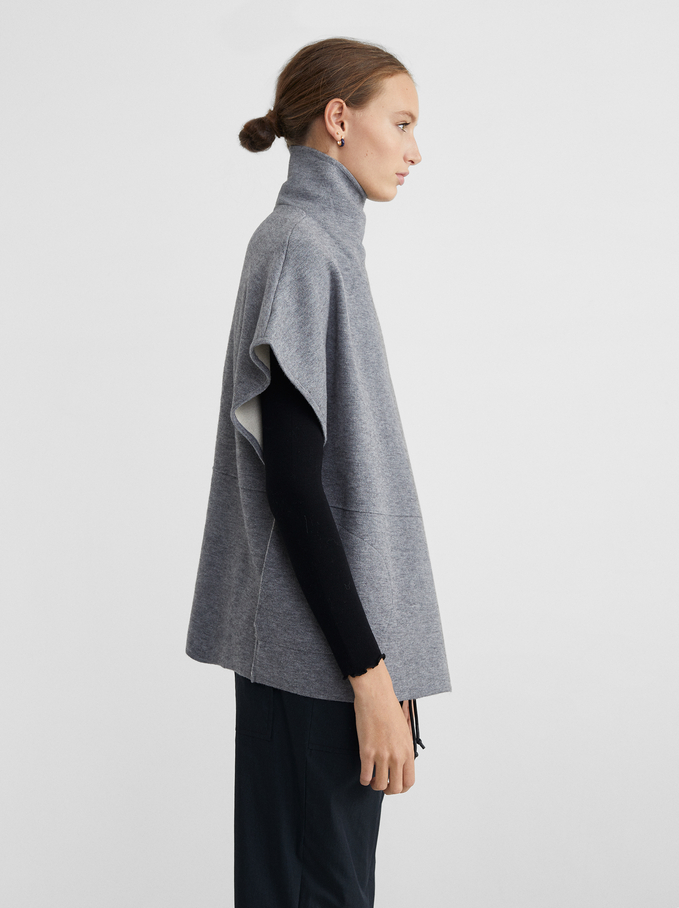 Knit Poncho With High Neck, Grey, hi-res