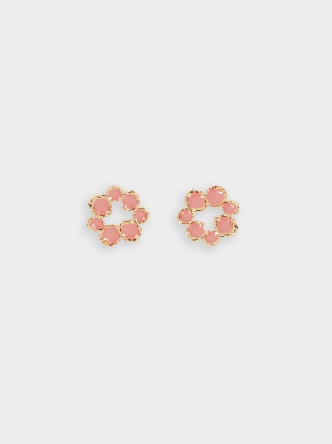 Short Flower Earrings, Pink, hi-res