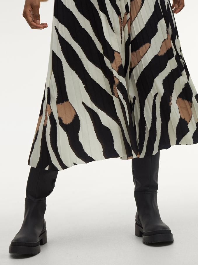 Animal Print Pleated Skirt, Ecru, hi-res