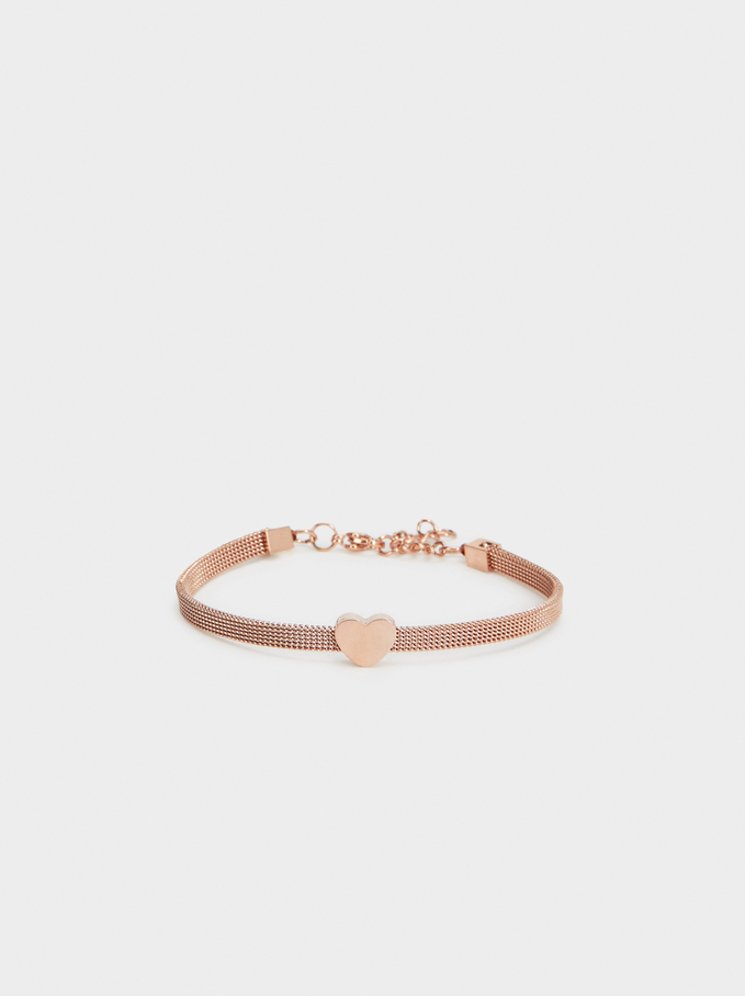 Steel Bracelet With Heart, Orange, hi-res