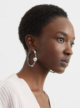 Cosmic Pink Long Hoop Earrings, Multicolor, hi-res