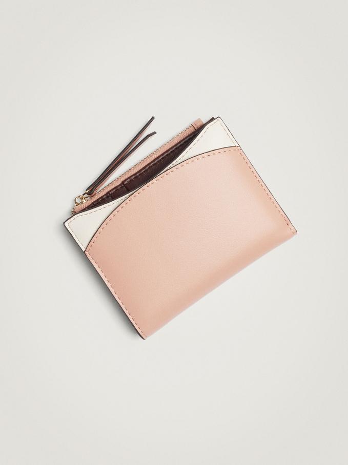 Patchwork Design Compact Wallet, Pink, hi-res