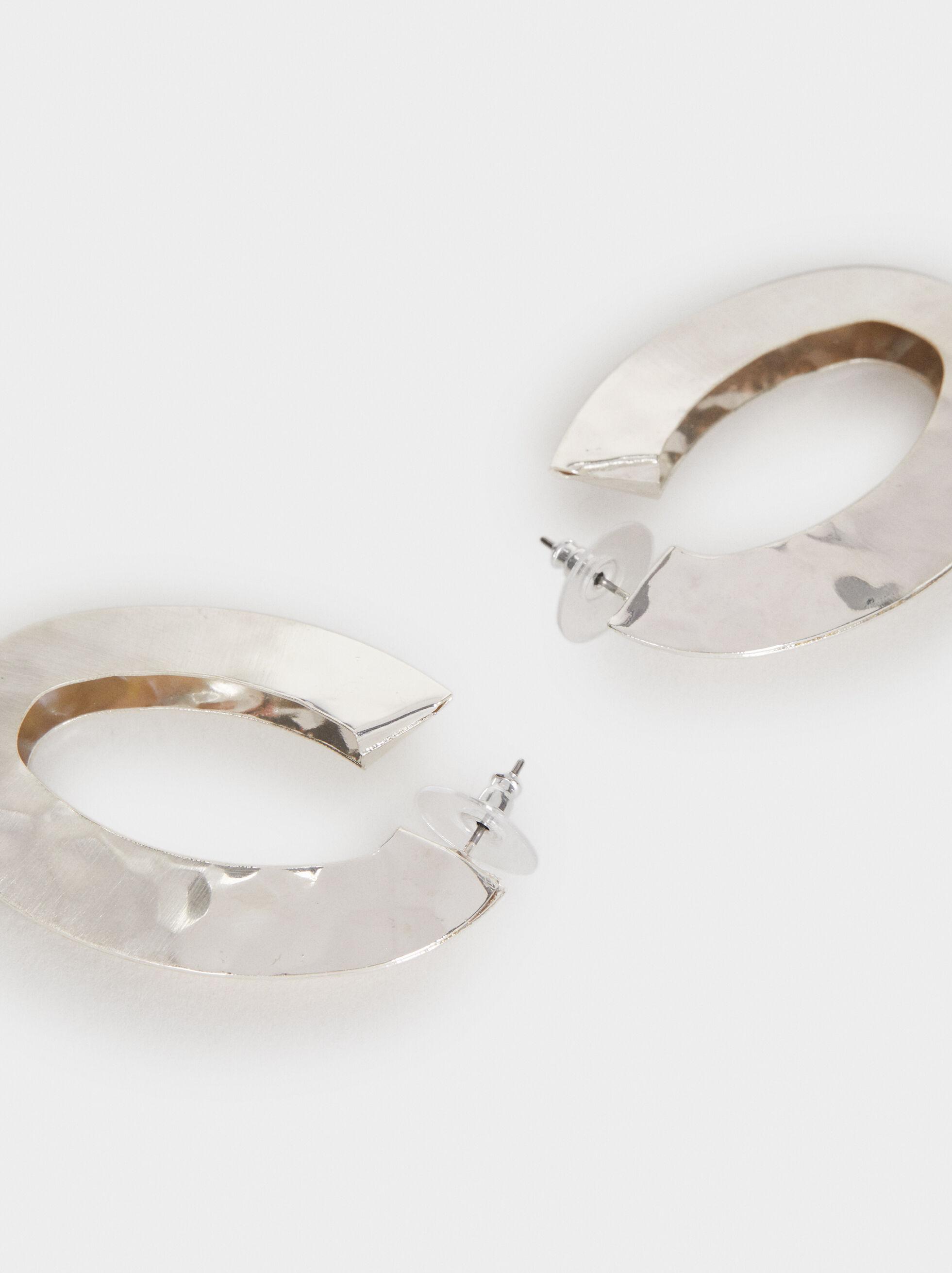 Long Irregular Hoop Earrings, Silver, hi-res