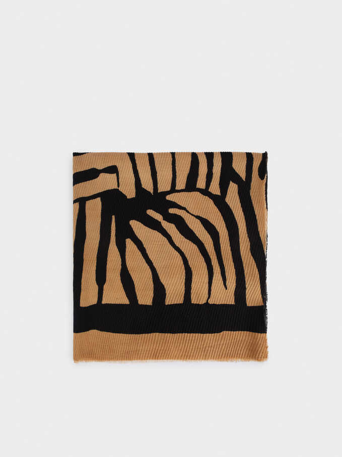Animal Print Square Scarve, Camel, hi-res