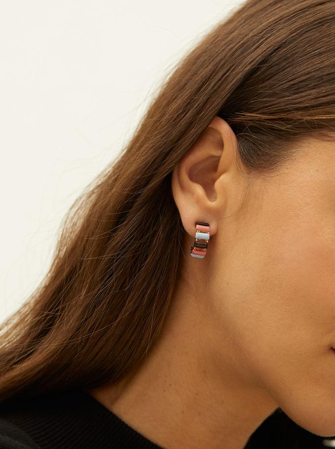 Small Resin Hoop Earrings, Multicolor, hi-res