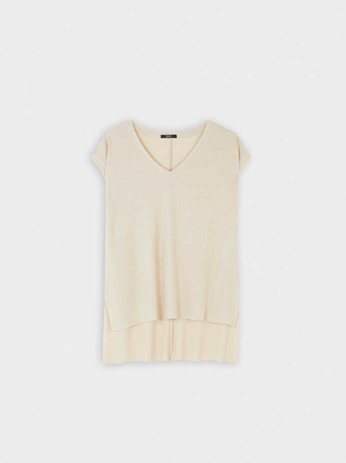 Sleeveless Top With A V-Neckline, Golden, hi-res