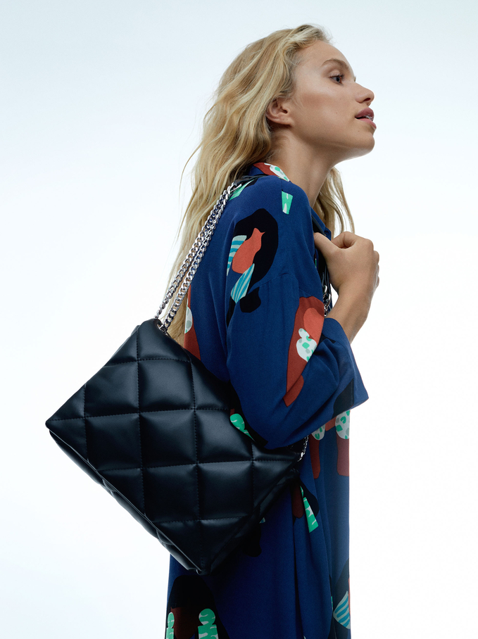 Quilted Crossbody Bag With Contrast Strap, Black, hi-res