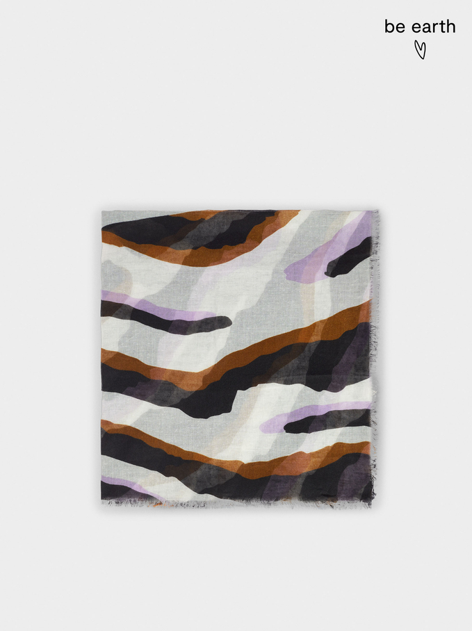 Printed Scarf Made From Recycled Materials, Violet, hi-res