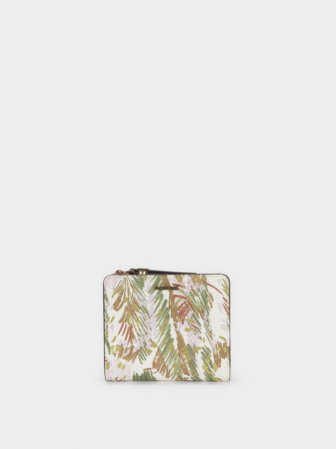 Portefeuille Compact Avec Imprimé, Rose, hi-res