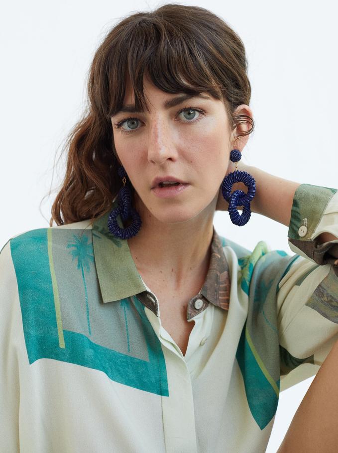 Large Woven Detail Earrings, Multicolor, hi-res