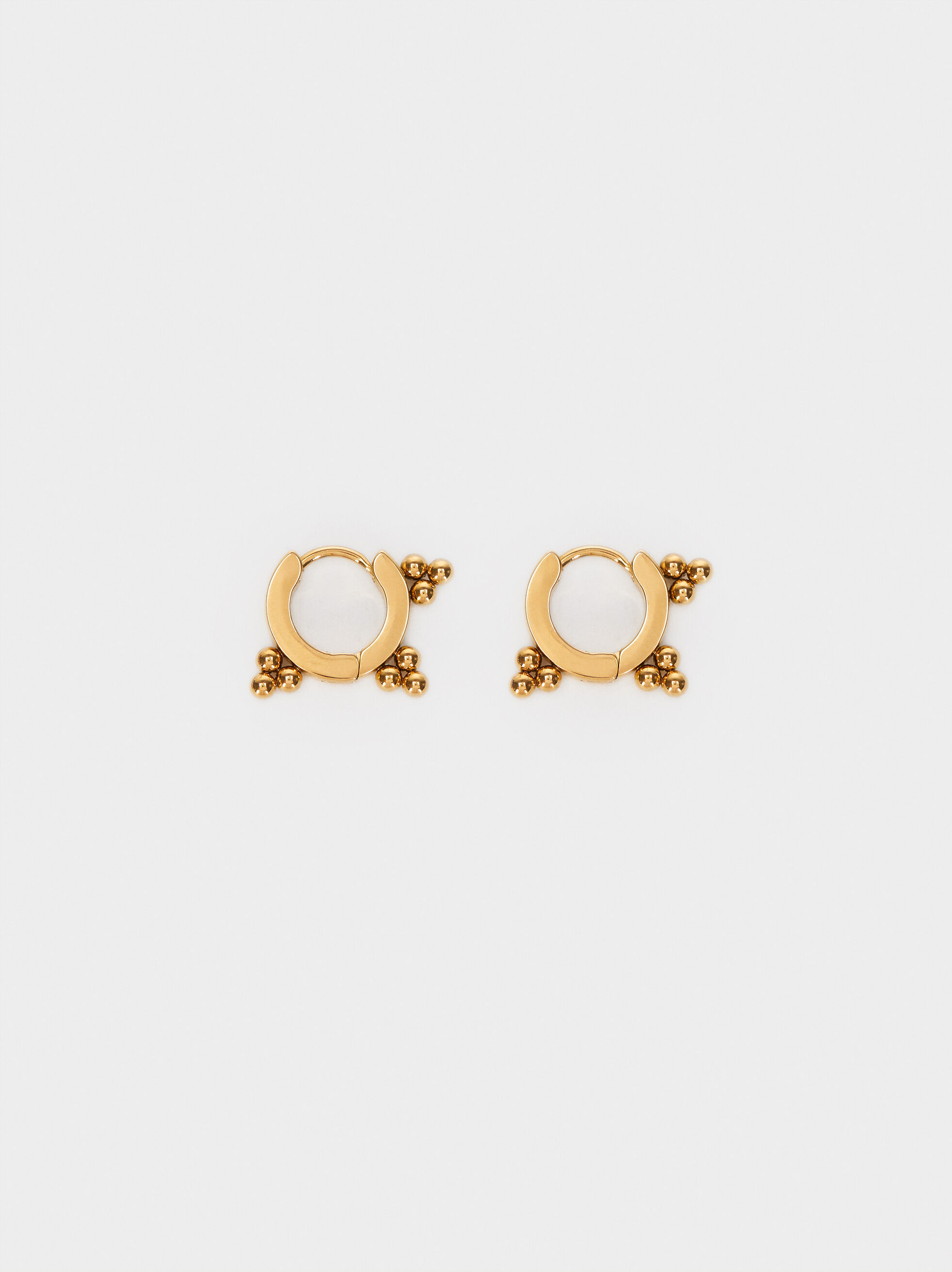 Gold Stainless Steel Small Hoop Earrings, , hi-res
