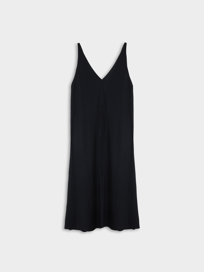 Flowing V-Neck Dress , Black, hi-res
