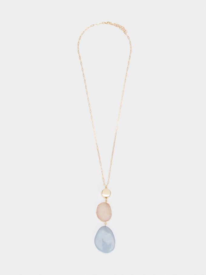 Long Necklace With Multicoloured Pendants, Multicolor, hi-res