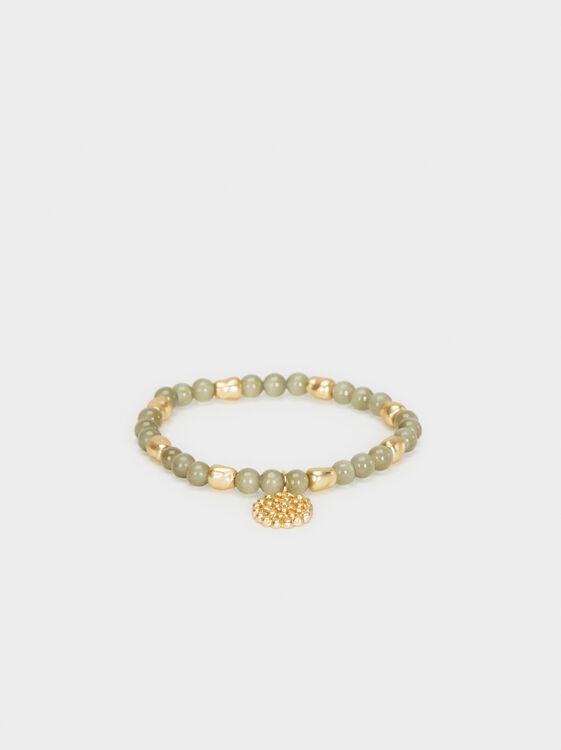 Bubbles Elastic Bracelet, Khaki, hi-res