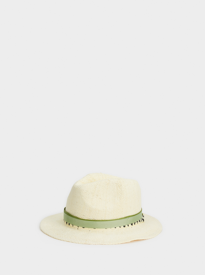 Hat With Contrast Band, White, hi-res