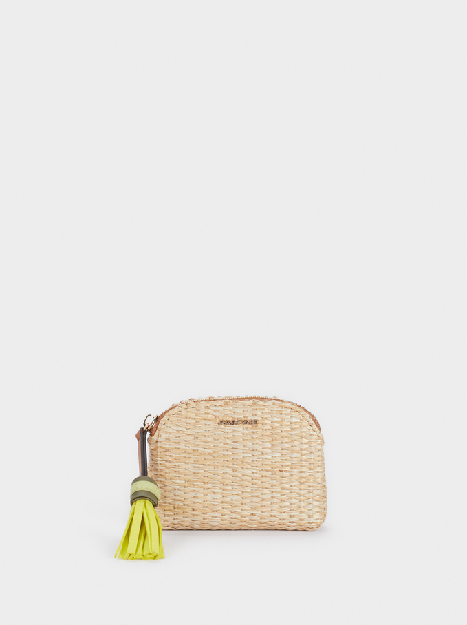 Raffia Coin Purse With A Charm, Beige, hi-res
