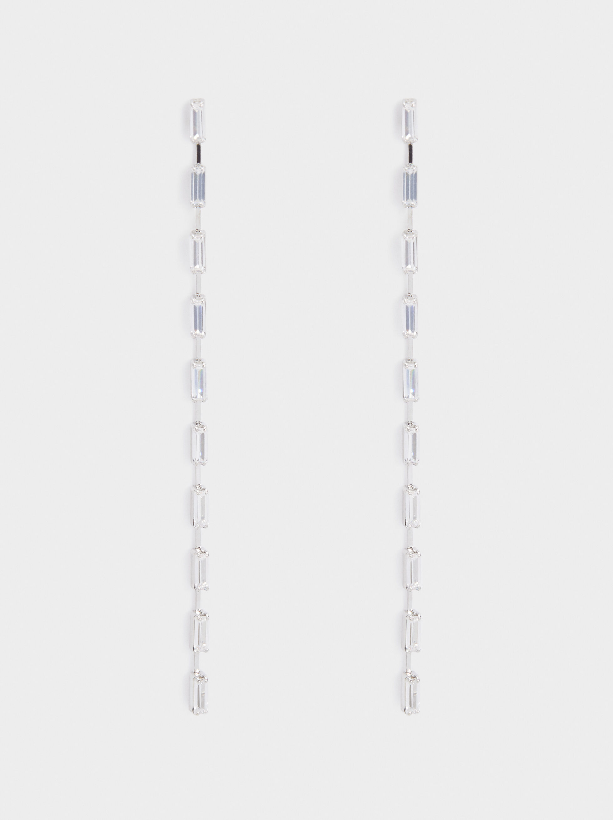 Extra Long Earrings With Crystals, Silver, hi-res