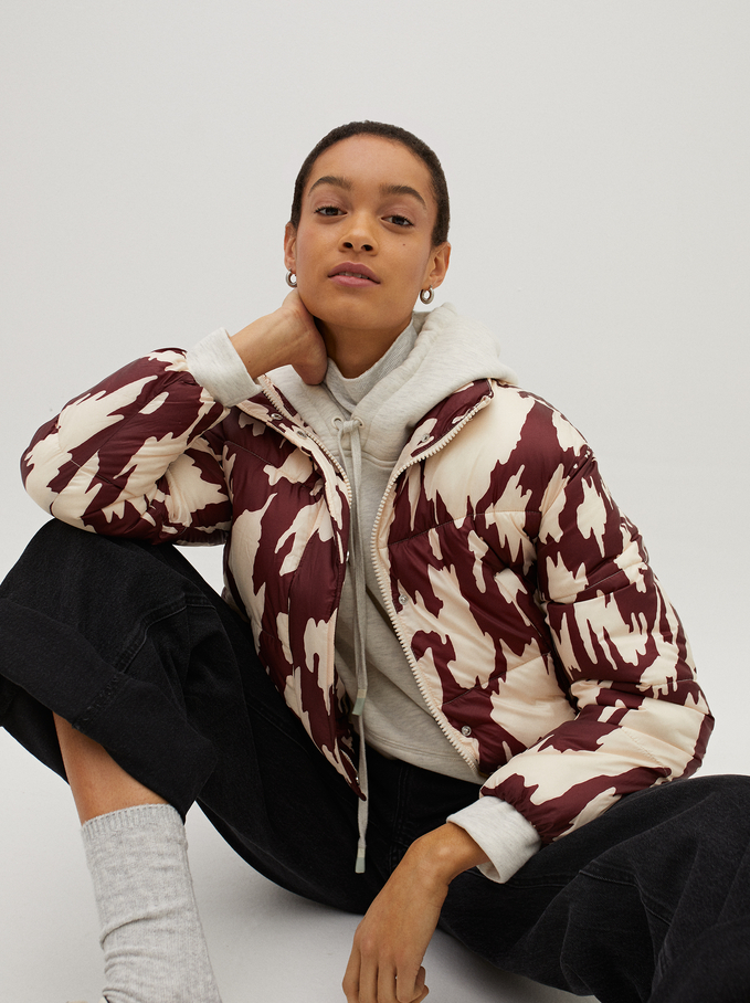 High Neck Printed Puffer Coat , Bordeaux, hi-res