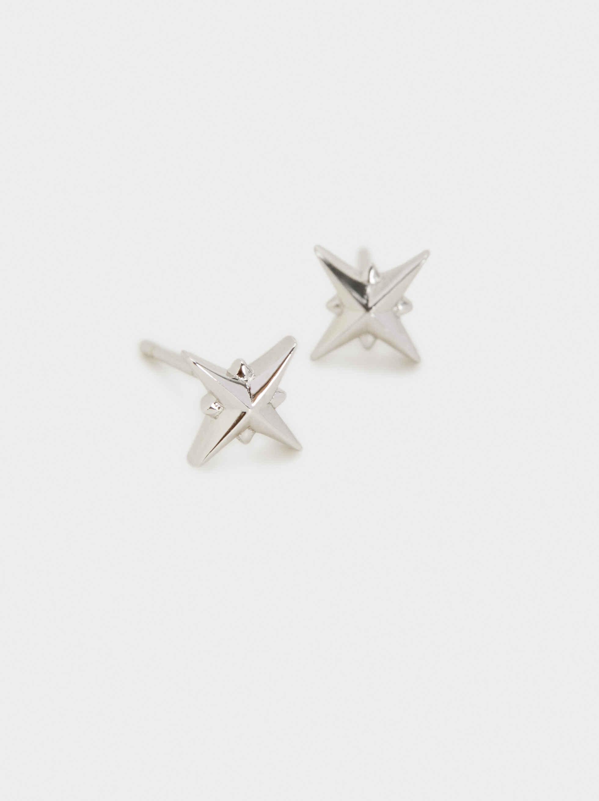Pendientes Cortos De Plata 925 Estrella, Plateado, hi-res