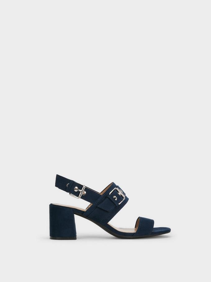Buckled High-Heel Sandals, Navy, hi-res