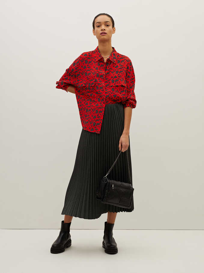 Printed Oversized Shirt, Red, hi-res